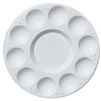 Wholesale x Well Round Professional Strong Light Plastic PaInt Palette Tray White order lt no track