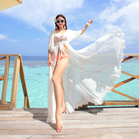 beach coverups - Womens Sexy White Kaftan Beach Dresses Sleeve Bikini Wrap Chiffon Swimwear Coverups Seaside Transprent Apparel
