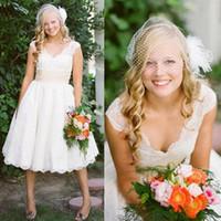 Wholesale Cap Sleeve V Neck Vintage Designer Cheap Lace Wedding Bridal Dresses Gowns Tea Length Plus Size Dresses Custom Made Outdoor Bridal Gown
