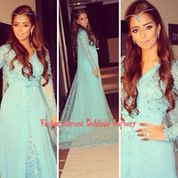 aqua silk - Robe De Soiree Arabic Aqua Dubai Evening Dresses With Long Sleeves Ladies Prom Sequined Beaded Celebrity Prom Formal Gowns