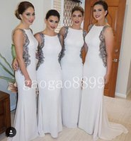 Crystal, Rhinestone amazing trumpets - 2016 Tarik Ediz New Design White Mermaid Bridesmaid Dresses Amazing Lace Back Crew Trumpet Maid Of Honor Wedding Party Dresses