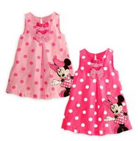 Wholesale Baby Girl Summer Casual Skirt Minnie Mouse Round Collar Bowknot Polka Dots Printing Sleeveless Cute Toddler Vest Dress Clothes