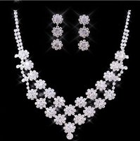 Wholesale 2015 Wonderful High Quality Bridal Jewelry Sets Rhinestones Delicate Earring Necklace Fast Delivery Reasonable Price Wedding Accessories
