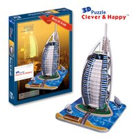 ai education - new clever happy land d puzzle model Burj Ai Arab adult puzzle diy model for boy paper learning education