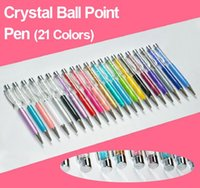 Wholesale 21 colors for choose metal pen of crystal Ball Point Pen with crystal on top J