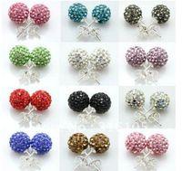 Wholesale pair Shamballa Czech Crystal Beads Ball stud earrings Shamballa earrings jewelry Mix Options