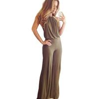 Wholesale Casual Elegant Jumpsuit - Sexy Backless Rompers Womens Jumpsuit Women Elegant Off-Shoulder Casual Halter Long Jumpsuit Women Romper Plus Size CL00732