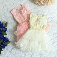 Wholesale Korean summer lace cutout small floral sleeveless multi layer tulle dress fashion baby girls dresses
