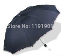 ad protection - Men Three folding Solid Color Sunny and Rainy Umbrella Ad Umbrellas Business Umbrella UV Protection Wind Resistant