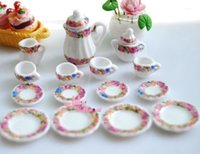 coffee pot tea pot - OF porcelain China Coffee Tea Lid Pot Cups Scale Dollhouse Miniature Furniture