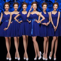 Wholesale 2016 Cheap Chiffon Bridesmaid Dress Under Navy Blue Pleated Wedding Party Dress Lace Up Back