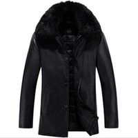 Wholesale Fall Leather Jackets Men Brand Clothing jaqueta de couro Degree Men s Leather Jacket Big Fur Collar Warm Winter Coat Thick