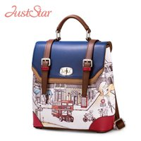 just star bag - Just Star Women s PU Leather Backpack Female British Cartoon School Bags Girl s Double Shoulder Student Bag Female Bolsas