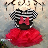 Wholesale Children Soft Cute Clothing Kids Short Sleeves O neck Stripe Cartoon Printing Baby Girls Minnie Mouse Sunshine Clothes T shirt Red Skirt