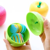 Wholesale Fruit Shape Fruit Fork Set Plastic Container With Forks Novelty Toothpick For Home Party Cake Dessert New