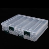 Wholesale 20 cm Compartments Plastic Fishing Lure Tackle Box Double Sided High Strength Transparent Visible with Drain Hole H12005