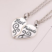 best friends chain - 2016 Fashion Love Couple Necklace Retro Best Friends Love Mosaic Pendant Necklaces High grade Alloy Jewelry For Men and Women ZJ