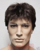 Wholesale COS MXJ01420W gt Beautiful short dark brown synthetic Hair men s wig wigs
