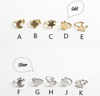 Wholesale Fashion Hot Gold silver copper metal moon clover star heart triangle no pierced clip earrings ear cuffs for women boucle bijoux