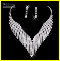 Wholesale Cheap Diamond Wedding Rings Set - Free Shipping 2015 Cheap New Shinning 2012 Silver Diamonds Earrings Necklace Party Formal Wedding Jewelry Set Bridal Accessories