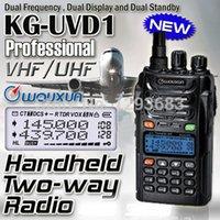 Gros-2pcs / lot Walkie-talkie 10 km de vente chaude bi-bande double WOUXUN d'affichage KG-UVD1P VHF UHF radio bidirectionnelle WOUXUN UVD1P