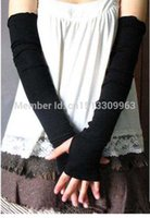 Wholesale Fashion Set Women Arm Warmers Wrist Knit Warmer Half Long Mitten Arm Fingerless Black Coffee Gray Dark Grey Gloves