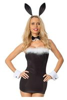 Wholesale Strapless Bunny Costume - Adult sexy costume animal cosplay Bunny fantasias disfraces women clothing mini Strapless dress new fashion free shipping 8833