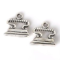 antique electric irons - Vintage x18mm Antique Silver Plated Electric iron Charms Pendants Jewelry Findings