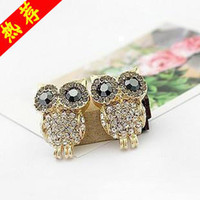 Wholesale E0111 Min order mix Fashion accessories delicate full rhinestone owl stud earring