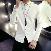 Wholesale New Autumn Fashion Men Clothes Slim Fit Men Long Sleeve Shirt Men Polka Dot Casual Men Shirt Men s Clothing Black White