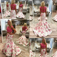 Wholesale Two Pieces Dresses Lace Bodice Mermaid Prom Dresses Court Train Floral Printed Formal Gown Custom Made