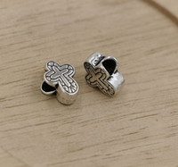 Wholesale MIC Tibetan Silver cross Large Hole Beads Fit European Charms Bracelet X14 MM