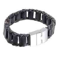 best quality tv brands - Best Quality Charming Brand New Design European Men s Retro Black Leather Bracelet With Stainless Steel Clasp mm