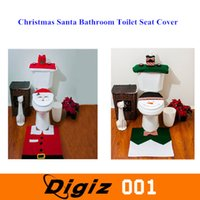 Wholesale 4 Christmas Santa Bathroom Toilet Seat Cover and Rug Set Green Snowman And Father Christmas