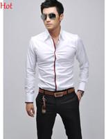 Wholesale 2015 New Casual Shirts Men Clothing Social Business Slim Fit Shirt Long Sleeve England White Blue Grey Pink Mens Shirts Formal Camisas