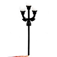 ho scale - Durable set HO Scale Model Garden Lamppost Lamp Three Heads Wires Bulbs Model Light Lamp