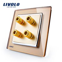 Wholesale Manufacturer Livolo New Style Golden Glass Panel Gangs Home Wall Sound Acoustics Socket VL W292A
