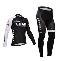 Wholesale New Arrival TREK men winter fleece thermal cycling Jersey sets with long sleeve bike top bib pants in cycling clothing bicycle wear