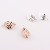 Wholesale Europe Style Fashion Jewelry Hollow Out Leaves Pendant Drusy Crystal Beads Solid Leaf Pendant for Necklace JJAL C31