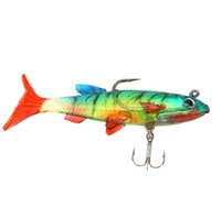 Wholesale New cm g Colourful Soft Bait Lead Head Sea Fish Lures Bass Fishing Tackle Sharp Treble Hook T Tail