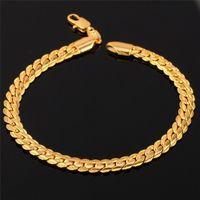 snake bracelet - 18K Real Gold Plated Bracelet With quot K quot Stamp Men Jewelry Gift New Trendy MM Chunky Snake Chain Link Bracelet