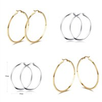 Wholesale Fashion Style Hotsale XMAS Gift Silver Gold Two Tone Surgical Stainless Steel mm Round Hoop Earrings New arrival Jewelry Women