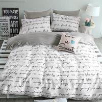 bedclothes double - High count density cotton Duvet covers set Gray letters bedding set Double single duvet covers Twin Queen size bedclothes amp