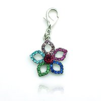 Wholesale Latest Fashion Floating Charm Alloy Lobster Clasp Rhinestone Flower Charms Accessories Jewelry