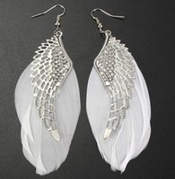Wholesale 2016 New New Alloy Angel Wing Feather Dangle Earring Fashion Jewelry Chandelier Drop Long Earrings for Women Gilrs Hot Sale