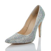 Wholesale New Luxury Multi Color Wedding Shoes Stiletto Pumps Heel Custom Rhinestone Crystal cm Women s Prom Party Evening Dress Bridal Shoes