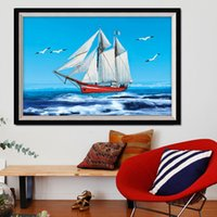 Wholesale D printing stitch study painting smooth sailing Miles parlor latest stitch landscape series