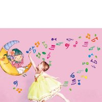 Wholesale Kids Room Wall Stickers Decorative Stickers Moon Girl Notes PVC Bathroom Tile Stickers