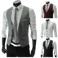 beer tanks - Fall men s vest Beckham vest men s casual suit vest tank tops vest undershirt beer for men singlet