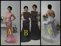 blue ribbon - Maid Of Honor Formal Wedding Party Gowns Woman Mermaid Lace Top Peplum Silver Grey Pink Peach Black Bridesmaid Dresses Cheap